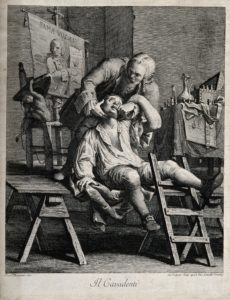 V0012020 A flamboyant travelling dentist extracting a tooth from an a Credit: Wellcome Library, London. Wellcome Images images@wellcome.ac.uk http://wellcomeimages.org A flamboyant travelling dentist extracting a tooth from an anxious patient. Engraving by G. Volpato after F. Maggiotto. By: Francesco Maggiottoafter: Giovanni VolpatoPublished:  -  Copyrighted work available under Creative Commons Attribution only licence CC BY 4.0 http://creativecommons.org/licenses/by/4.0/